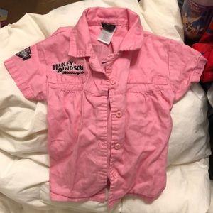 Girls pink Harley Davidson button up
